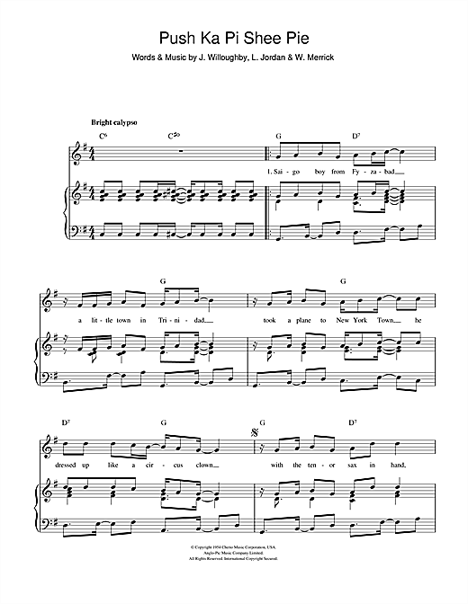 Push Ka Pi Shee Pie (from Five Guys Named Moe) Sheet Music