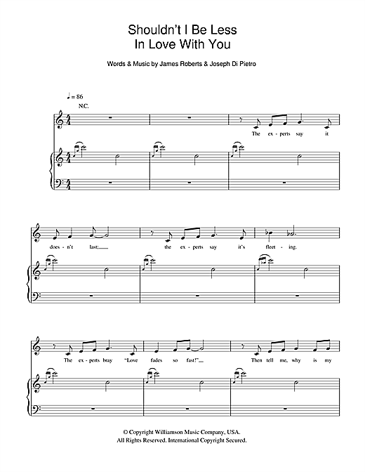 Shouldn't I Be Less In Love With You (from I Love You, You're Perfect, Now Change) Sheet Music
