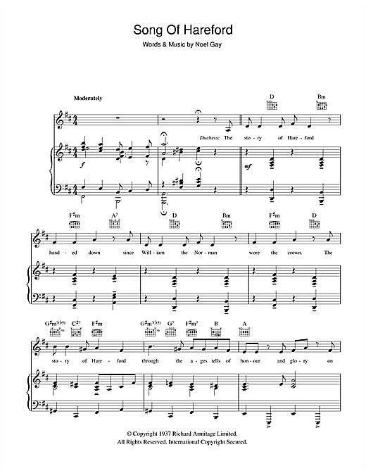 Song Of Hareford (from Me And My Girl) Sheet Music