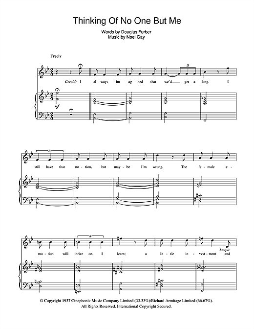 Thinking Of No One But Me (from Me And My Girl) Sheet Music