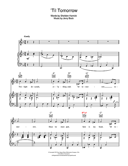 'Til Tomorrow (from Fiorello!) Sheet Music