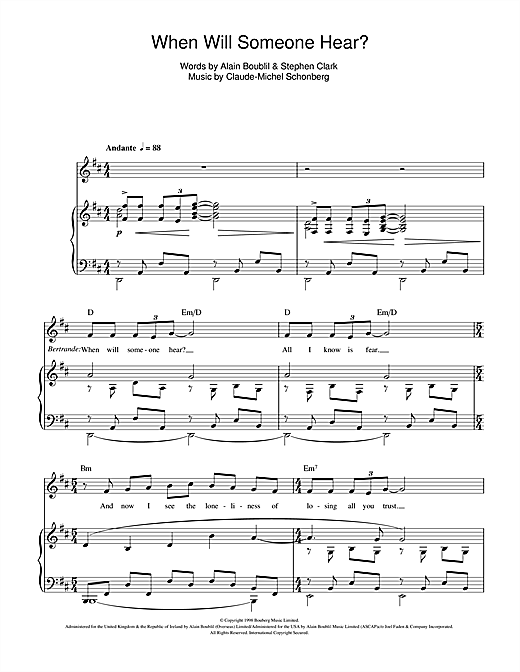 When Will Someone Hear (from Martin Guerre) Sheet Music
