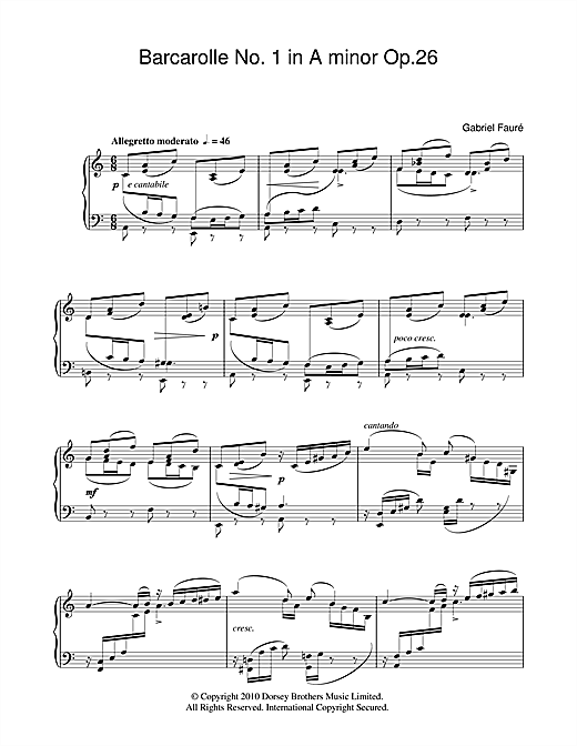 Barcarolle No.1 In A Minor Op.26 (Piano Solo)