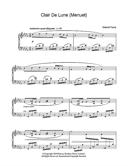 Minuet From Clair De Lune Sheet Music