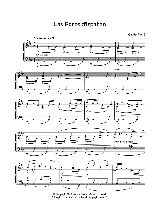 Les Roses D'Ispahan (Piano Solo)