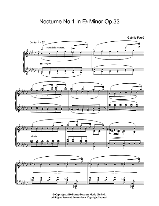 Nocturne No.1 In E Flat Minor Op 33 Sheet Music
