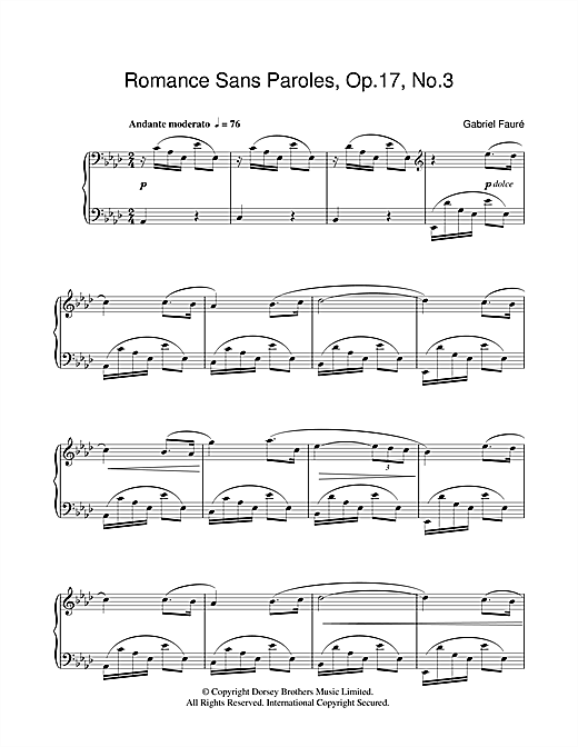 Partition piano Romance Sans Paroles Op.17, No.3 de Gabriel Faure - Piano Solo