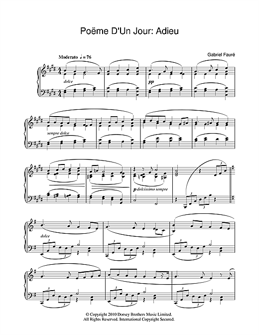 Poeme D'un Jour Op.21 Sheet Music