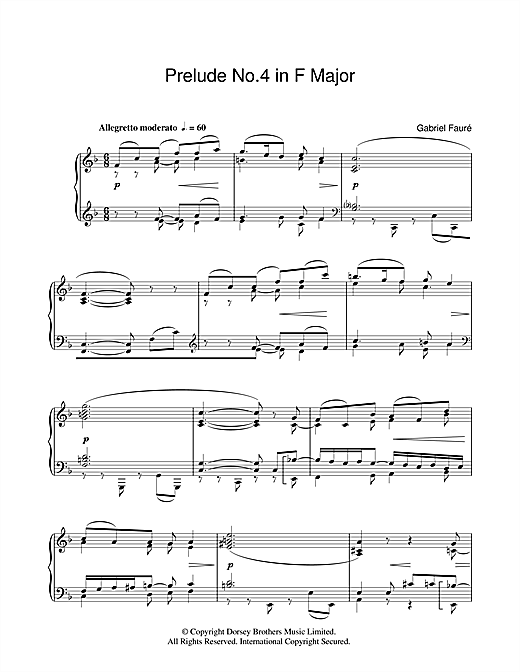 Prelude No.4 In F Sheet Music