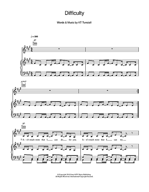 Difficulty (Piano, Vocal & Guitar (Right-Hand Melody))