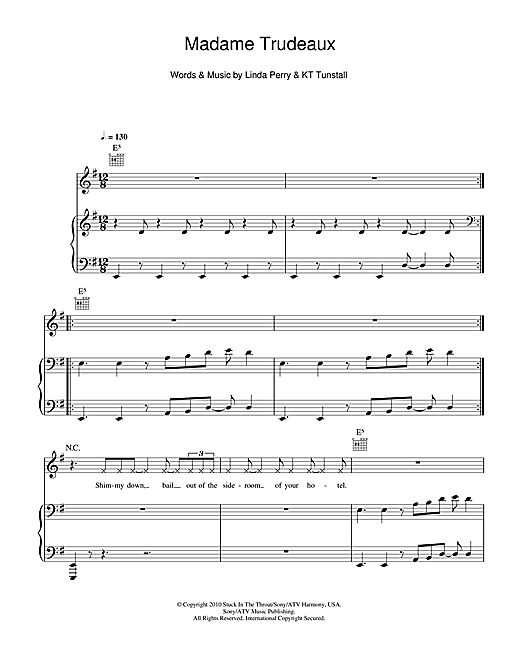 Madame Trudeaux Sheet Music
