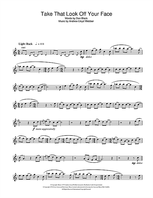 Take That Look Off Your Face (from Tell Me On A Sunday) Sheet Music
