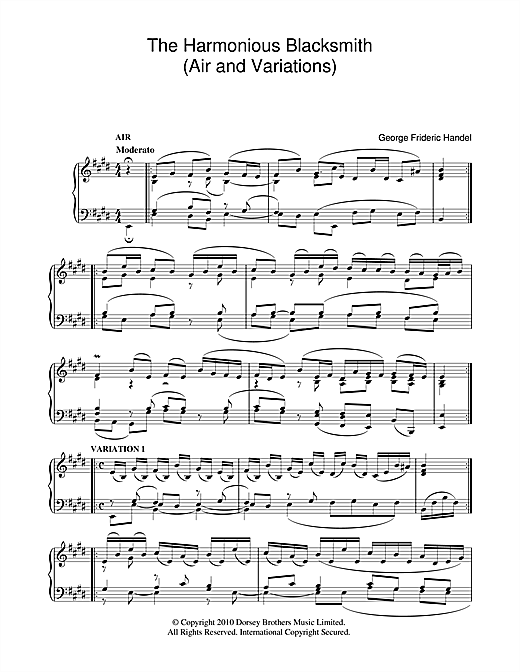The Harmonious Blacksmith (Air And Variations) Sheet Music