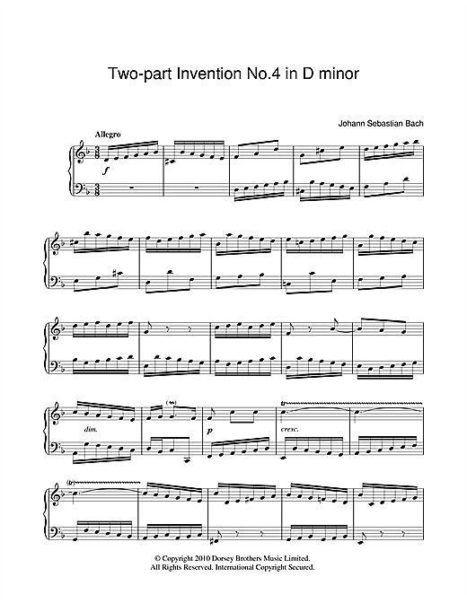 Two-Part Invention No. 4 Sheet Music