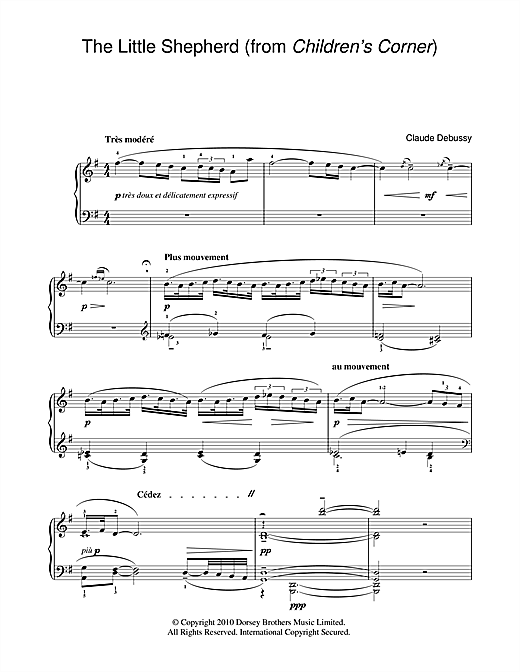Partition piano The Little Shepherd (from Children's Corner) de Claude Debussy - Piano Facile