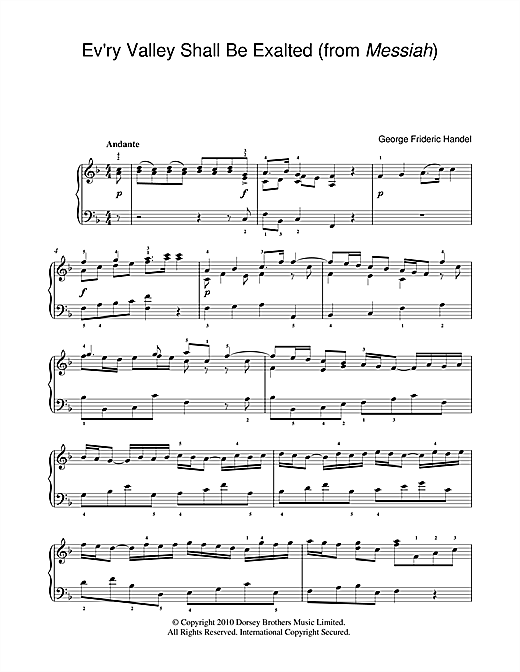 Ev'ry Valley Shall Be Exalted (from Messiah) Sheet Music