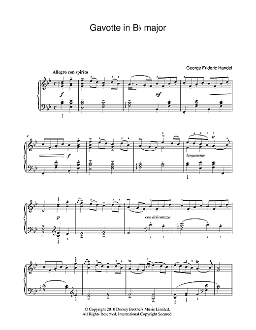 Gavotte In B Flat Sheet Music