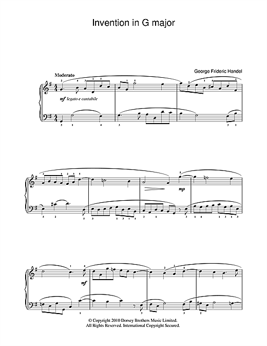 Partition piano Invention In G de George Frideric Handel - Piano Facile
