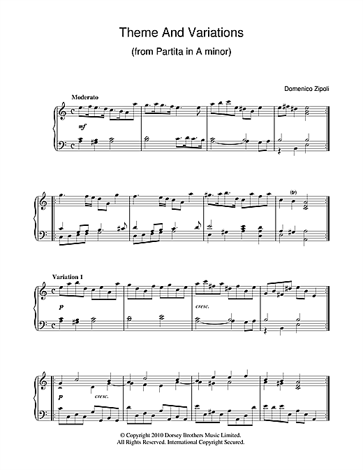 Theme And Variations From Partita In A Minor (Piano Solo)