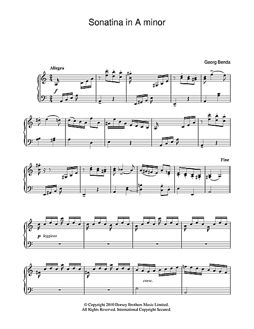 Sonatina In A Minor Sheet Music
