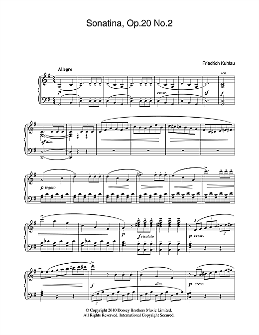 Partition piano Sonatina, Op.20, No.2 de Friedrich Kuhlau - Piano Solo