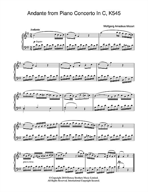 Andante (from Piano Sonata In C, K545) Sheet Music