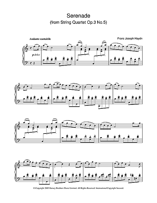 Serenade For Strings Op. 3 No. 5 Sheet Music