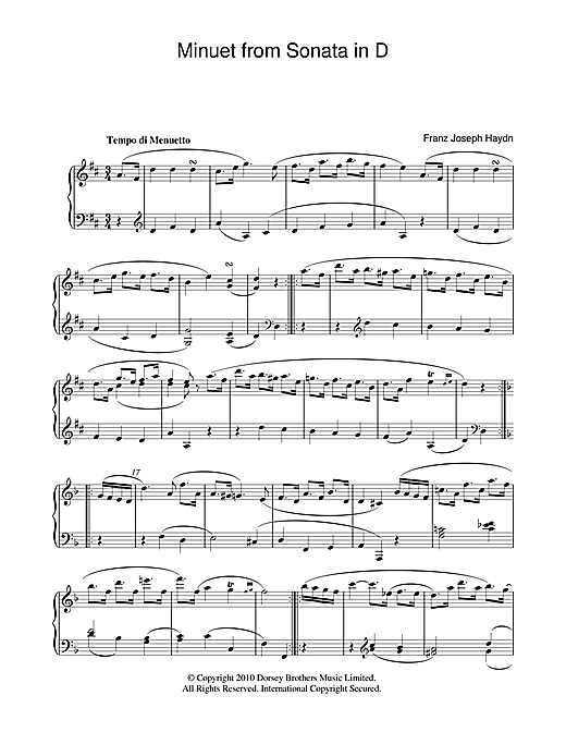 Minuet From Sonata In D Sheet Music