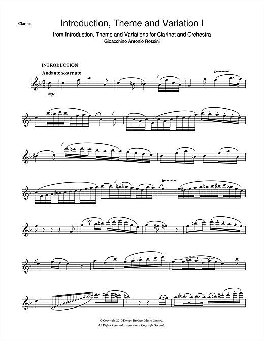Introduction, Theme And Variations For Clarinet and Orchestra (Clarinet Solo)