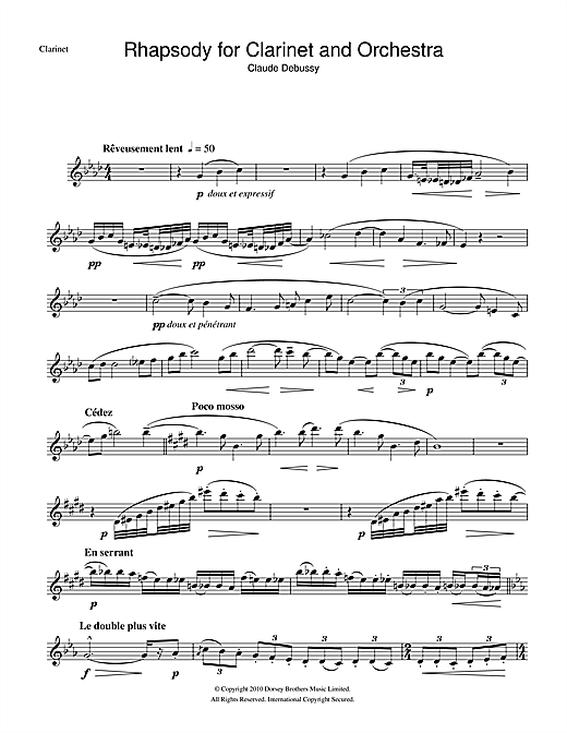 Rhapsody For Clarinet And Orchestra (Clarinet Solo)