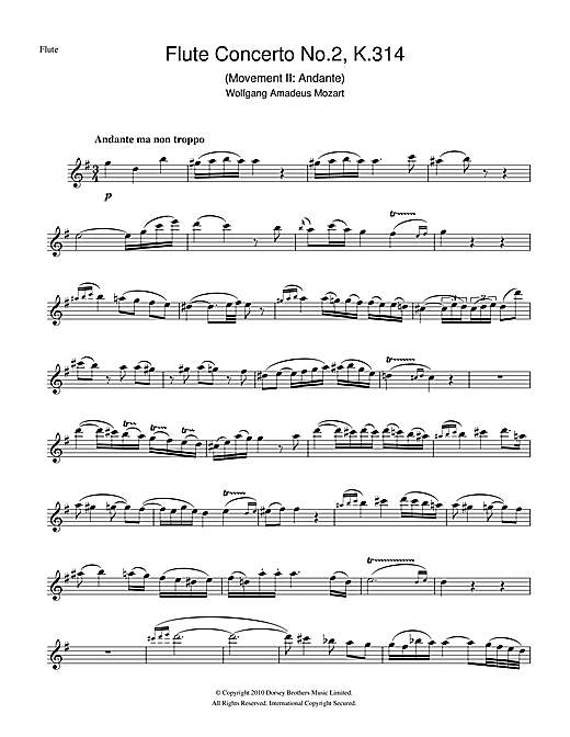 Partition flûte Flute Concerto No. 2, 2nd Movement de Wolfgang Amadeus Mozart - Flute traversiere
