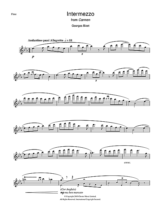 Intermezzo from Carmen Act III Sheet Music