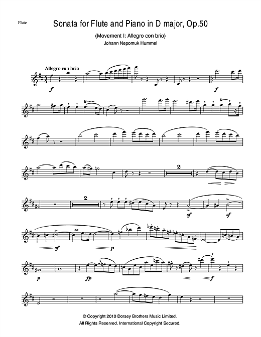 Sonata For Flute And Piano In D Major, Op.50 Sheet Music
