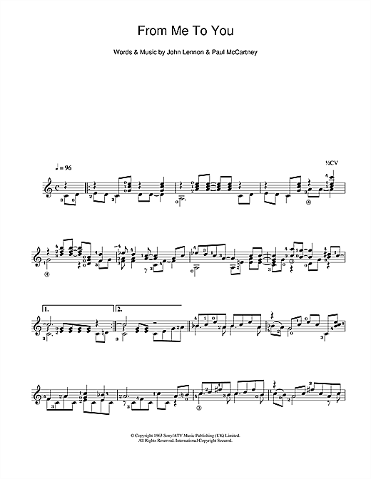 Tablature guitare From Me To You de The Beatles - Guitare Classique