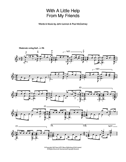Tablature guitare With A Little Help From My Friends de The Beatles - Guitare Classique