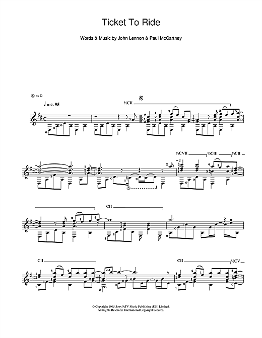 Tablature guitare Ticket To Ride de The Beatles - Guitare Classique
