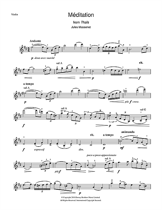Partition autre Meditation (from Thaïs) de Jules Massenet - Violon