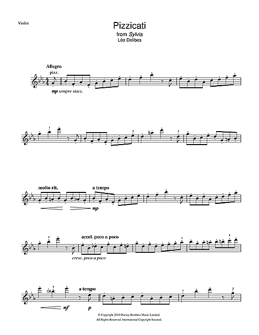 Partition autre Pizzicati (from Sylvia) de Leo Delibes - Violon