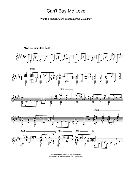 Tablature guitare Can't Buy Me Love de The Beatles - Guitare Classique