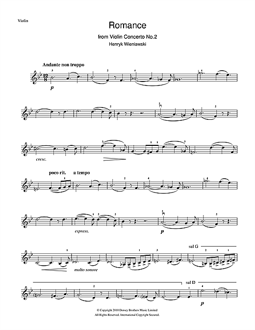 Romance From Violin Concerto, No.2 Sheet Music