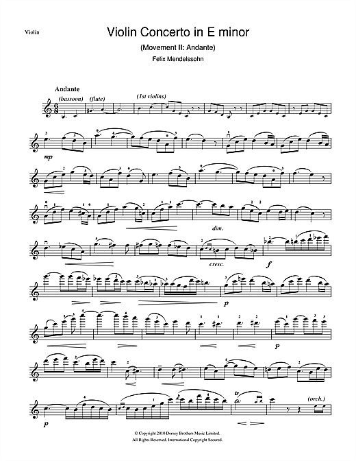 Partition autre Violin Concerto In E Minor, 2nd Movement de Felix Mendelssohn - Violon