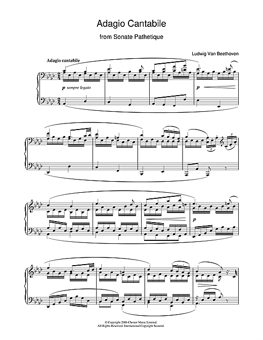 Partition piano Adagio Cantabile from Sonate Pathetique Op.13, Theme from the Second Movement de Ludwig van Beethoven - Piano Solo