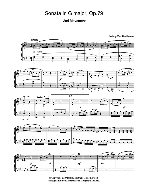 Sonata In G Major Op. 79 2nd Movement Sheet Music