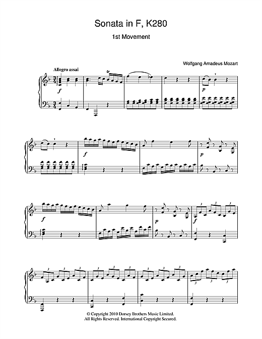 Sonata In F Major (First Movement) Sheet Music