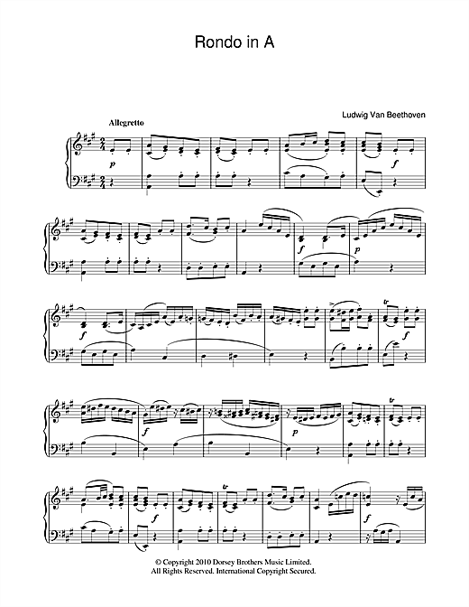 Partition piano Rondo In A de Ludwig van Beethoven - Piano Solo