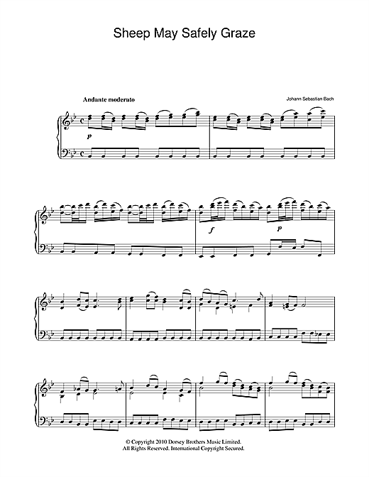 Partition piano Sheep May Safely Graze de Johann Sebastian Bach - Piano Solo