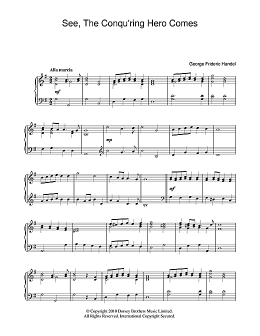 Partition piano See The Conquering Hero Comes de George Frideric Handel - Piano Solo