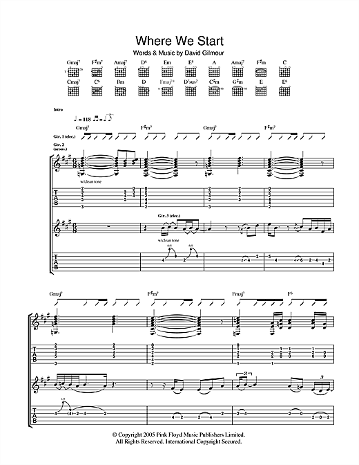 Where We Start (Guitar Tab)