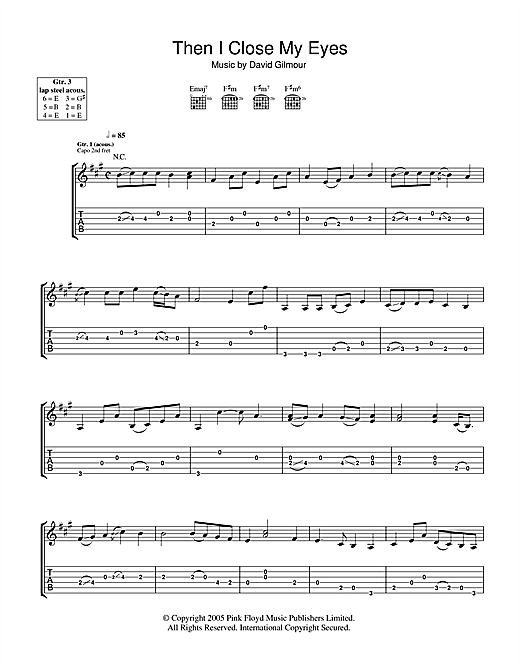Then I Close My Eyes (Guitar Tab)