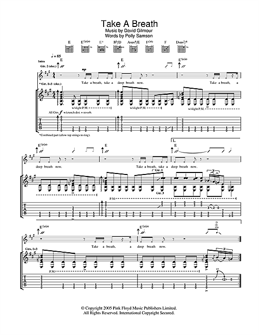 Tablature guitare Take A Breath de David Gilmour - Tablature Guitare